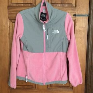 North Face Pink and Gray Fleece Jacket - Small